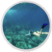 Woman Free Diving Round Beach Towel