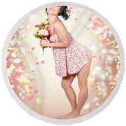 Woman Holding Flowers In Hands. Spring Celebration Round Beach Towel
