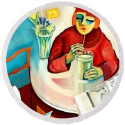 Woman In A Cafe Round Beach Towel