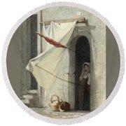 Woman In A Doorway. Rome Round Beach Towel