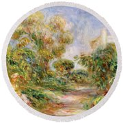 Woman In A Landscape Round Beach Towel