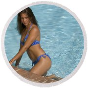 Woman In A Pool. Round Beach Towel