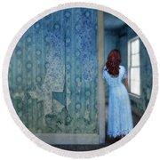Woman In Abandoned House Round Beach Towel by Jill Battaglia