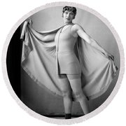 Woman In Bathing Suit And Cape, C.1920s Round Beach Towel