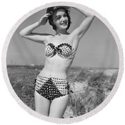 Woman In Bikini, C.1950s Round Beach Towel