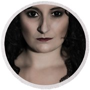 Woman In Black Round Beach Towel