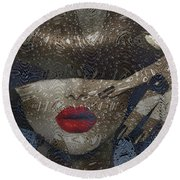 Woman In Blue Red Passion Round Beach Towel