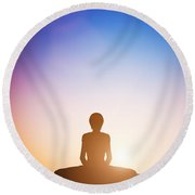 Woman In Bound Angle Yoga Pose Meditating At Sunset Round Beach Towel
