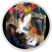Woman In Color Round Beach Towel