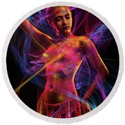 Woman In Colorful Body Paint With Light Streaks Round Beach Towel
