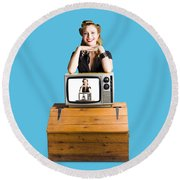 Woman  In Front Of Tv Camera Round Beach Towel by Jorgo Photography - Wall Art Gallery