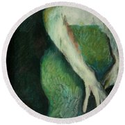 Woman In Green Round Beach Towel