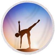 Woman In Half Moon Yoga Pose Meditating At Sunset Round Beach Towel