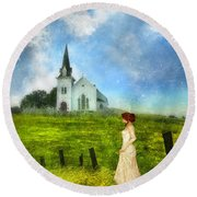 Woman In Lace By A Country Church Round Beach Towel