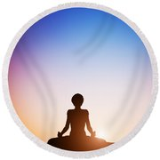 Woman In Lotus Yoga Pose Meditating At Sunset Round Beach Towel