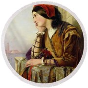 Woman In Love Round Beach Towel by Henry Nelson O Neil