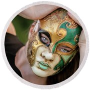 Woman In Mask Round Beach Towel