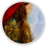 Woman In Medieval Gown Round Beach Towel by Jill Battaglia