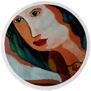 Woman In Orange And Blue Round Beach Towel