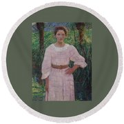 Woman In Pink Dress Round Beach Towel