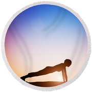 Woman In Plank Yoga Pose Meditating At Sunset Round Beach Towel