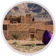 Woman In Purple Round Beach Towel