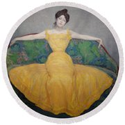 Woman In A Yellow Dress Round Beach Towel