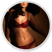 Woman In Red Lingerie Round Beach Towel