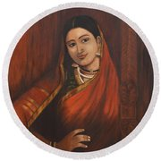 Woman In Saree - After Raja Ravi Varma Round Beach Towel