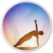 Woman In Side Balance Yoga Meditating At Sunset Round Beach Towel