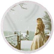 Woman In Snow Scene Round Beach Towel