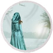 Woman In Snowy Landscape Round Beach Towel