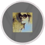 Woman In Sunglasses Round Beach Towel