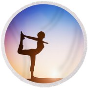 Woman In The Dancer Yoga Pose Meditating At Sunset Round Beach Towel