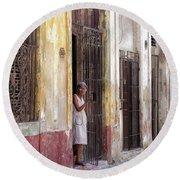 Woman In The Door Round Beach Towel
