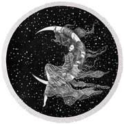 Woman In The Moon Round Beach Towel