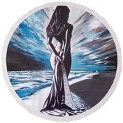 Woman In The Moonlight Round Beach Towel