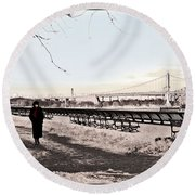 Woman In The Snow Round Beach Towel