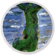 Woman In The Wind By The Sea 1907 Round Beach Towel