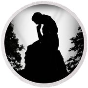 Woman In Thought Round Beach Towel