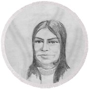 Woman In Turtle Neck Sweater Round Beach Towel