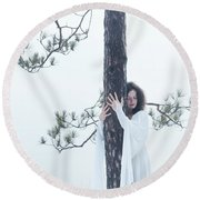 Woman In White Dress Hugging A Tree Round Beach Towel