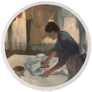 Woman Ironing Round Beach Towel