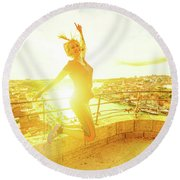 Woman Jumping At Oporto Round Beach Towel