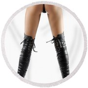 Woman Legs In Black Sexy Thigh High Stiletto Boots Round Beach Towel