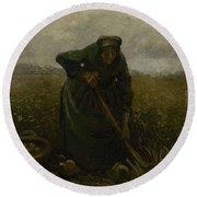 Woman Lifting Potatoes Nuenen, July - August 1885 Vincent Van Gogh 1853 - 1890 Round Beach Towel
