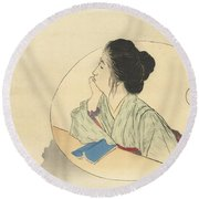 Woman Looking At A Bird Round Beach Towel