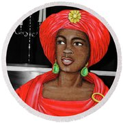 Woman Of The Candelabra Round Beach Towel