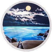 Woman On A Cliff And The Beautiful See Round Beach Towel
