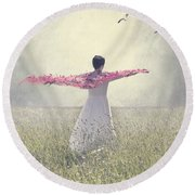 Woman On A Lawn Round Beach Towel